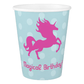 Magical Birthday Party with Pink Unicorn Paper Cup