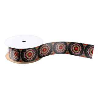 Magical Black and Red Mandala Satin Ribbon