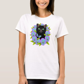 Magical Black Cat Good Luck Pansy Butterfly shirt