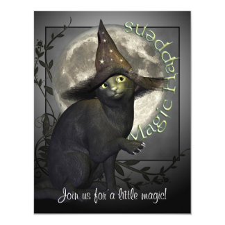 Magical Black Cat Small Halloween Invitation