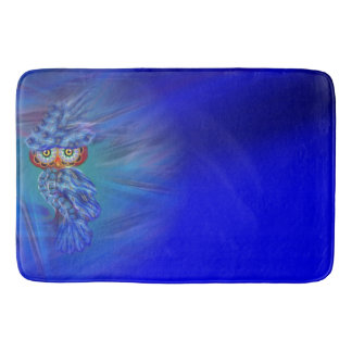 Magical Blue Plumage Fashion Owl Bath Mat