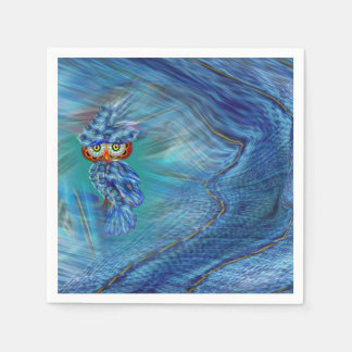 Magical Blue Plumage Fashion Owl Disposable Serviette