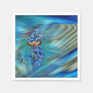 Magical Blue Plumage Fashion Owl Disposable Serviettes