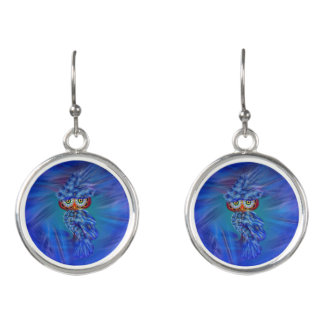 Magical Blue Plumage Fashion Owl Earrings