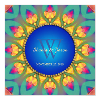 Magical Bohemian Sunflower Monogram Invitation