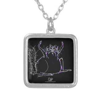 magical cat silver plated necklace