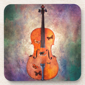 Magical cello with butterflies coaster