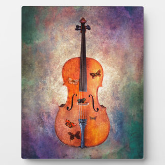 Magical cello with butterflies photo plaque