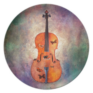Magical cello with butterflies plate