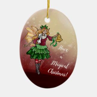 Magical Christmas Bell Fairy Ceramic Ornament