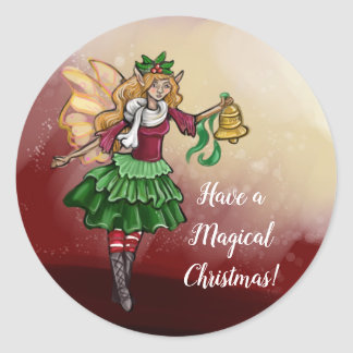 Magical Christmas Bell Fairy Classic Round Sticker