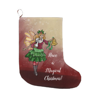 Magical Christmas Bell Fairy Large Christmas Stocking