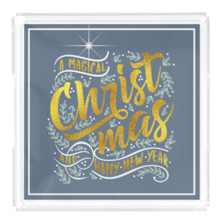 Magical Christmas Typography Gold ID441 Acrylic Tray
