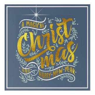 Magical Christmas Typography Gold ID441 Acrylic Wall Art