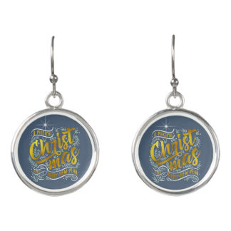 Magical Christmas Typography Gold ID441 Earrings