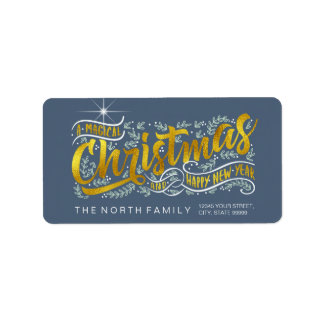 Magical Christmas Typography Horizontal Gold ID441 Label