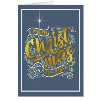 Magical Christmas Typography Photo Gold ID441 Card