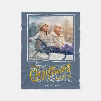 Magical Christmas Typography Photo Gold ID441 Fleece Blanket