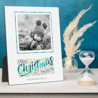 Magical Christmas Typography Photo Teal ID441 Plaque