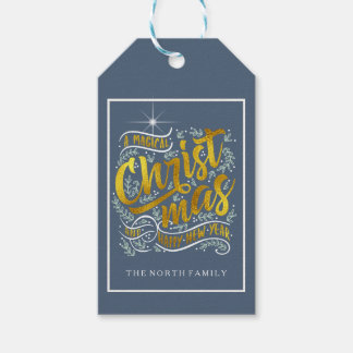 Magical Christmas Typography Stripes Gold ID441 Gift Tags