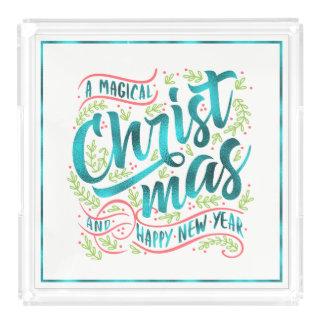 Magical Christmas Typography Teal ID441 Acrylic Tray