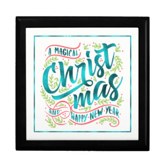 Magical Christmas Typography Teal ID441 Gift Box