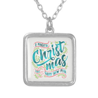 Magical Christmas Typography Teal ID441 Silver Plated Necklace