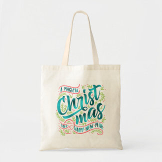 Magical Christmas Typography Teal ID441 Tote Bag