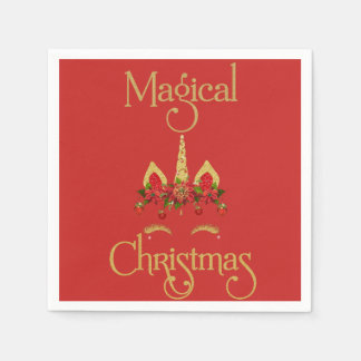 Magical Christmas Unicorn Red Gold Paper Napkin