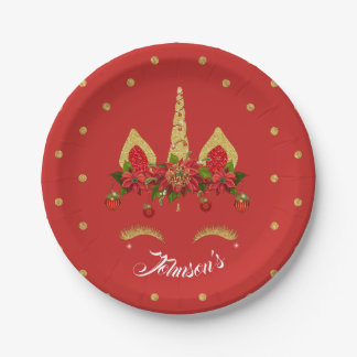 Magical Christmas Unicorn Red Gold Personalized Paper Plate