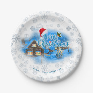 Magical Christmas Village Paper Plate