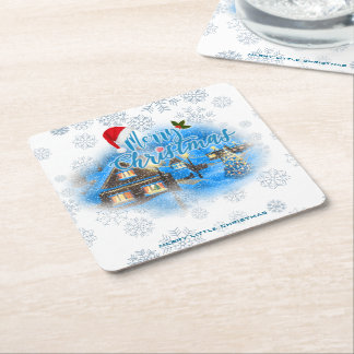Magical Christmas Village Square Paper Coaster