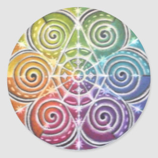 Magical Color Wheel Mandala Classic Round Sticker