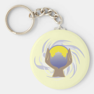 magical crystal ball design basic round button key ring