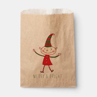 Magical Cute Christmas Elf Holiday Favor Bag Favour Bags