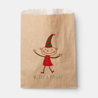 Magical Cute Christmas Elf Holiday Favor Bag Favour Bags