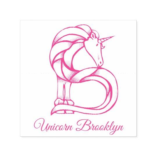 Magical Cute Monogram B Custom Unicorn Brooklyn Self-inking Stamp