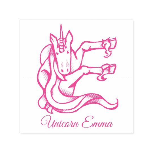 Magical Cute Monogram E Unicorn Emma or Your Text Self-inking Stamp