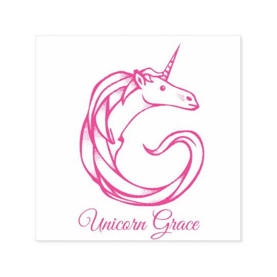 Magical Cute Monogram G Unicorn Grace or Your Text Self-inking Stamp