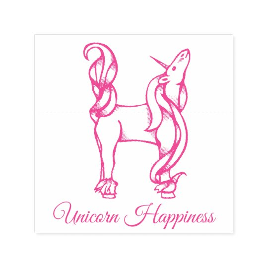 Magical Cute Monogram H Custom Unicorn Happiness Self-inking Stamp