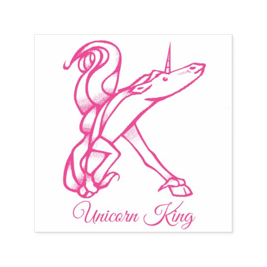 Magical Cute Monogram K Unicorn King or Your Text Self-inking Stamp