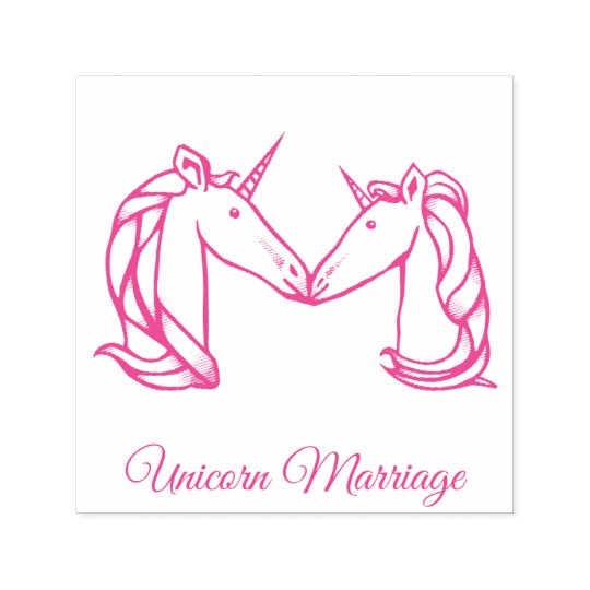 Magical Cute Monogram M Custom Unicorn Marriage Self-inking Stamp