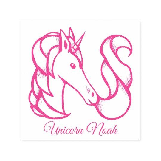 Magical Cute Monogram N Custom Unicorn Noah Text Self-inking Stamp
