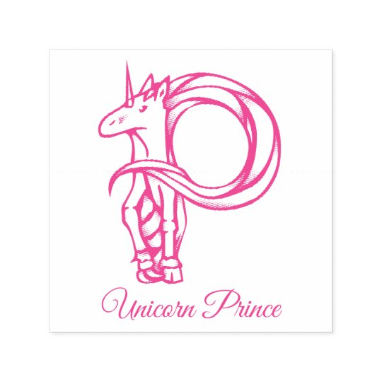 Magical Cute Monogram P Custom Unicorn Prince Self-inking Stamp