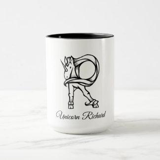 Magical Cute Monogram R Custom Unicorn Richard Mug