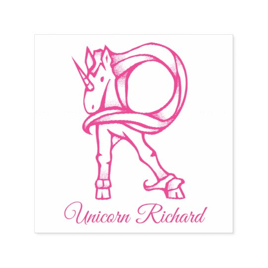 Magical Cute Monogram R Custom Unicorn Richard Self-inking Stamp