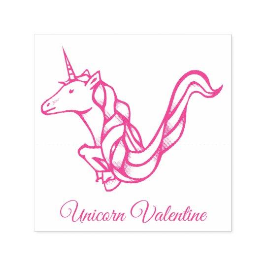 Magical Cute Monogram V Custom Unicorn Valentine Self-inking Stamp