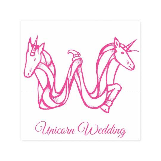 Magical Cute Monogram W Custom Unicorn Wedding Self-inking Stamp