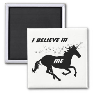 Magical Cute Unicorn Black and White Believe Square Magnet