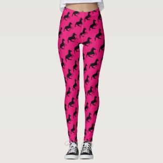 Magical Cute Unicorn Pattern Black Hot Pink Funny Leggings
